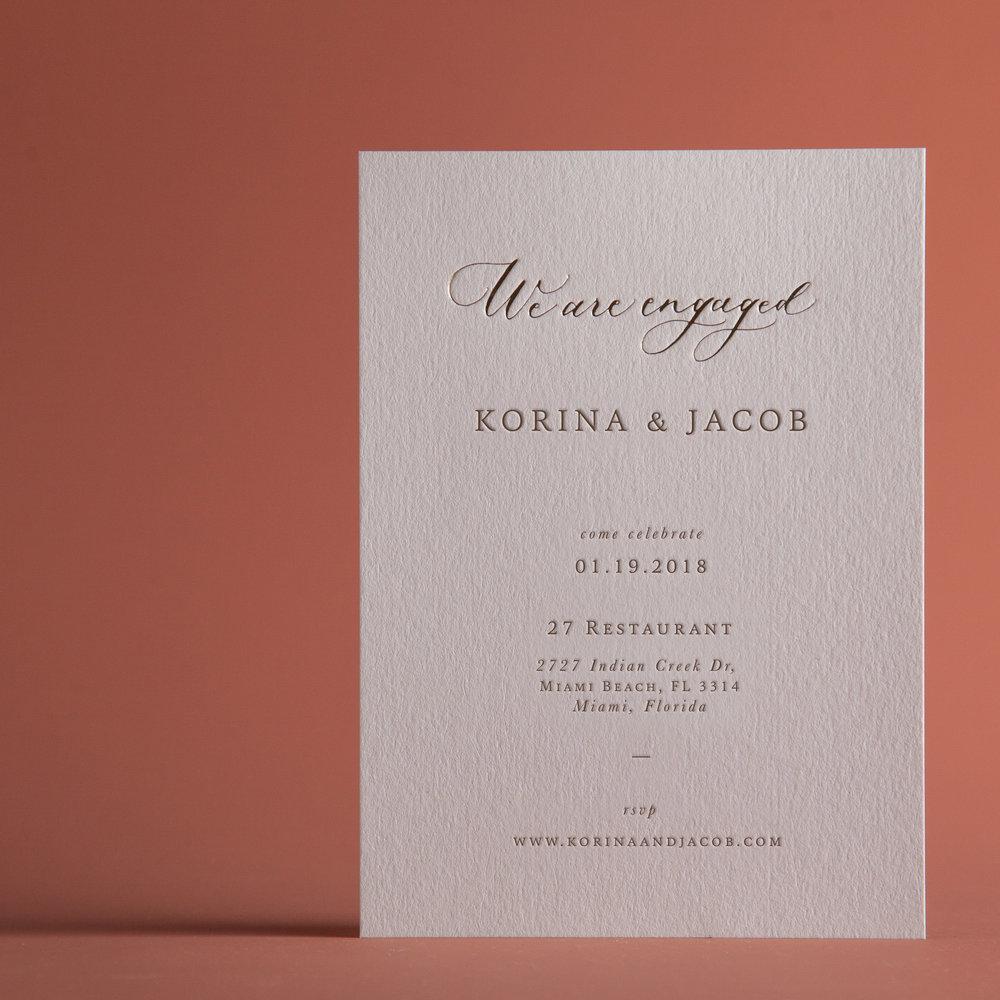 CLASSIC ROSE ENGAGEMENT INVITATION CARD — P A P E L & CO.