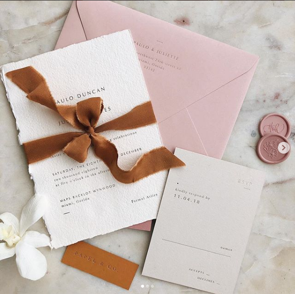 Minimal Collection, Hand Made Paper Upgrade for Main Card, Standard Stock RSVP, Silk Ribbon