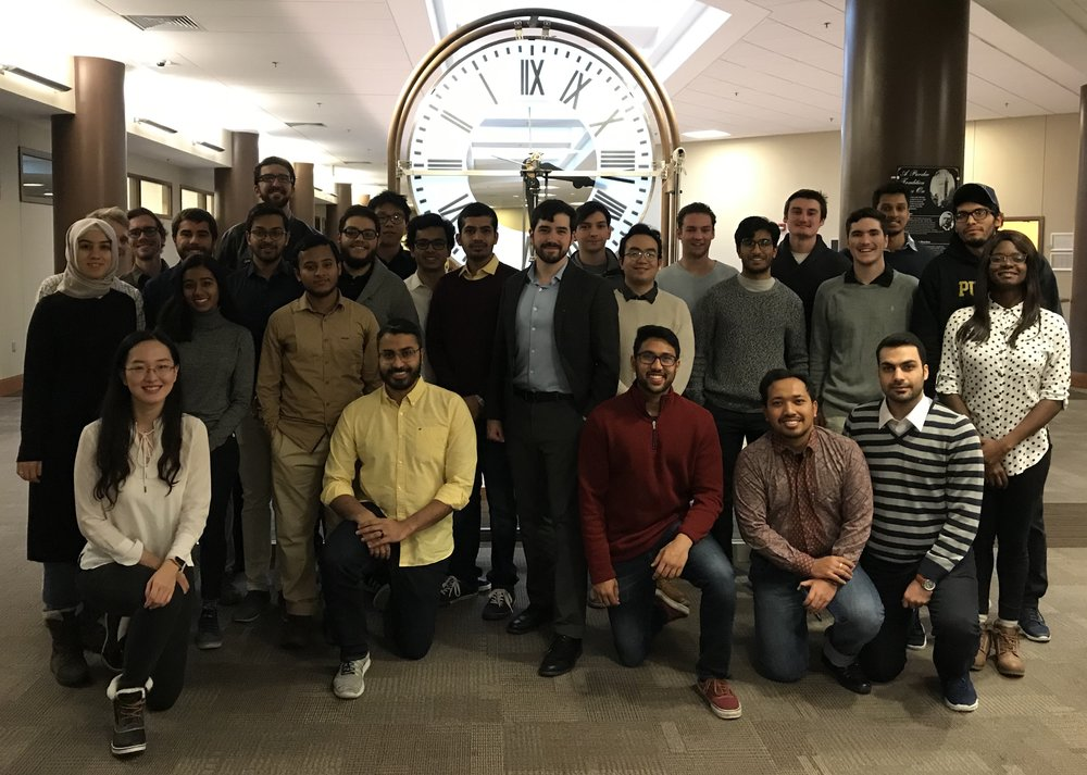 2018 Warsinger Water lab team, including both teams of senior design students (6 students on each).