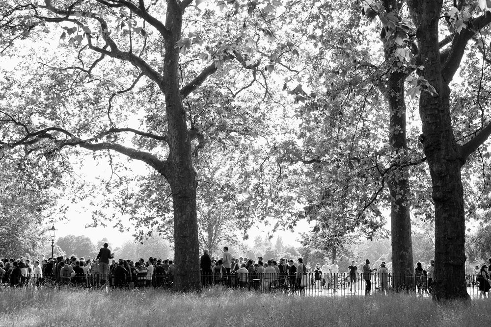 A view of the crowds at Speakers' Corner, Hyde Park