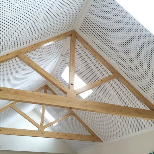 Delighted with how this property is coming along.. Rigitone acoustic ceiling board with exposed pine beams = Great contrast!
