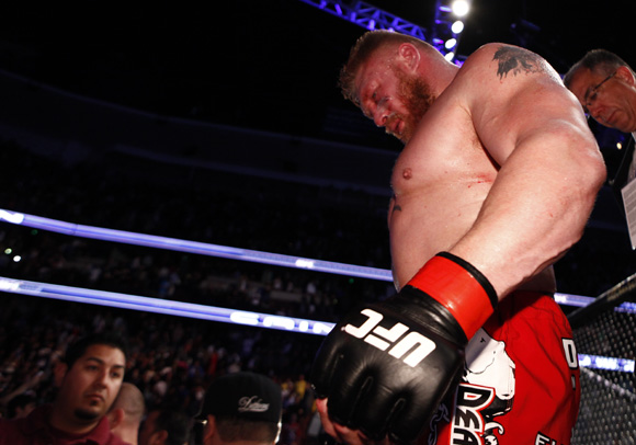 Brock Lesnar after losing the UFC Heavyweight belt to Cain Velasquez at UFC 121