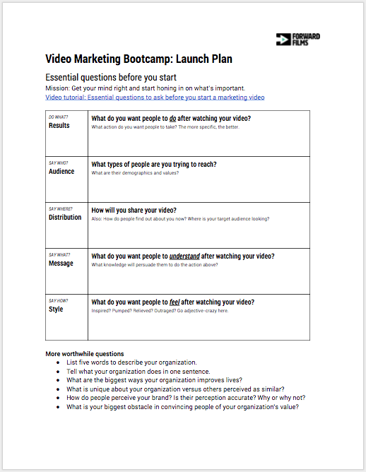 Video Marketing Bootcamp Launch Plan