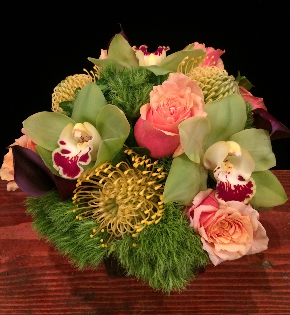 Half a Dozen 'Cherry Brandy' Roses, Eggplant Calla Lilies, Green Cymbidium Orchids, Yellow Pincushion, & Dianthus