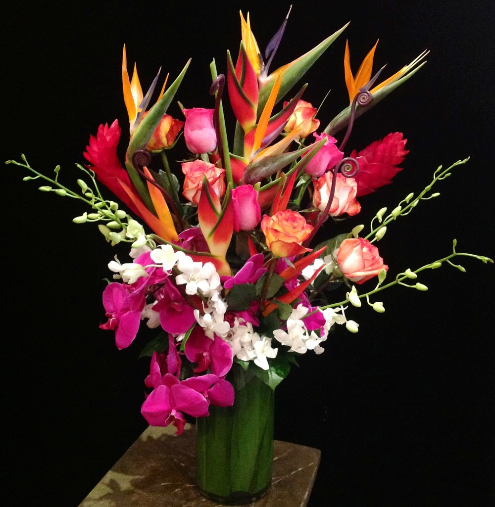 Birds of Paradise, Tropicals, Roses, Phalaenopsis and Dendrobium Orchids