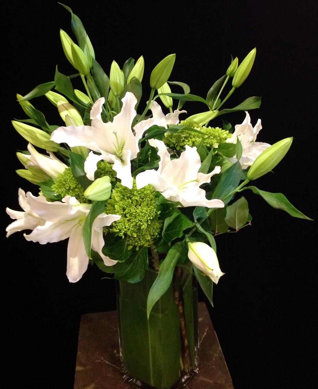 A Dozen White Lilies & Green Hydrangeas