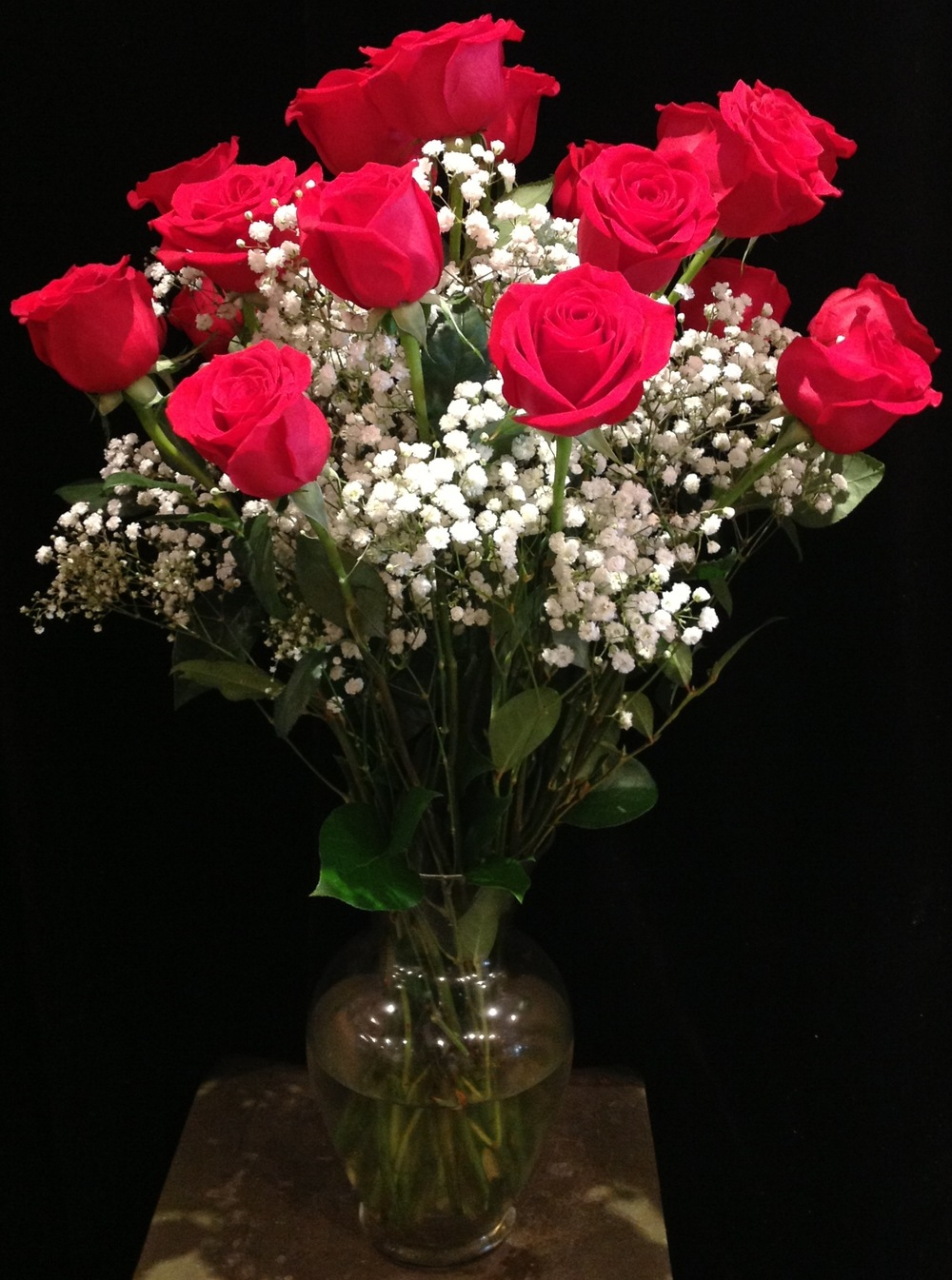 A Dozen Long Stem Red Roses with Baby's Breath