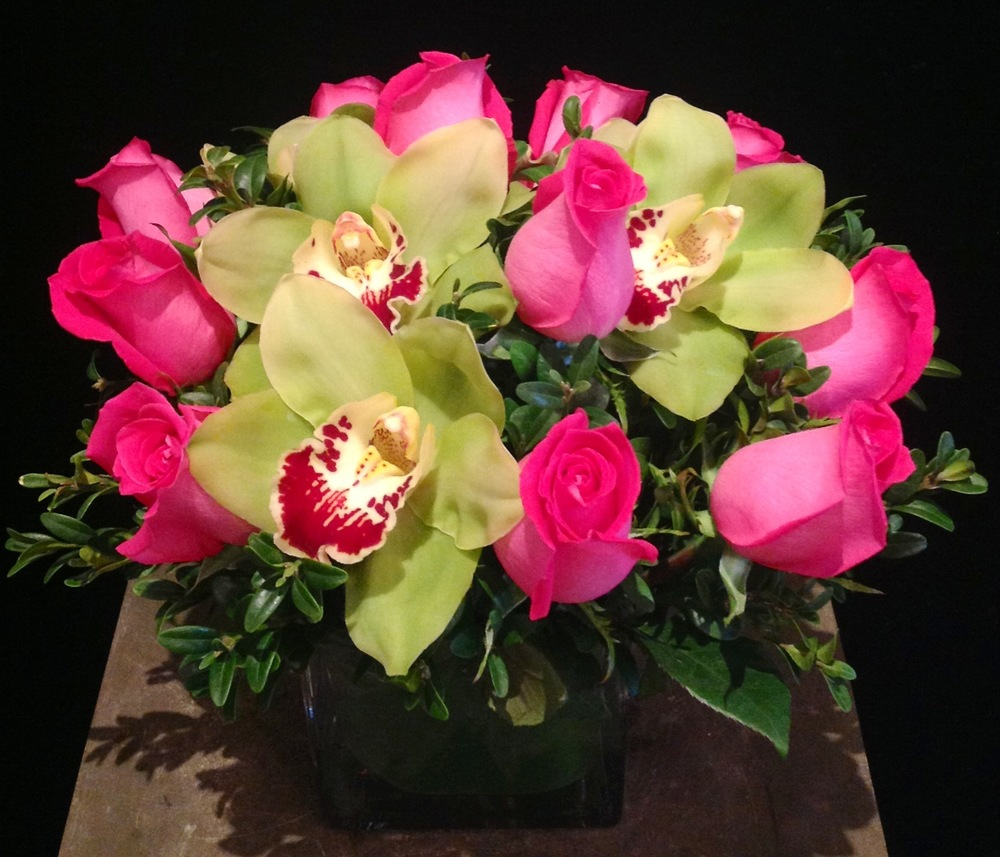 A Dozen Hot Pink Roses & Green Cymbidium Orchids