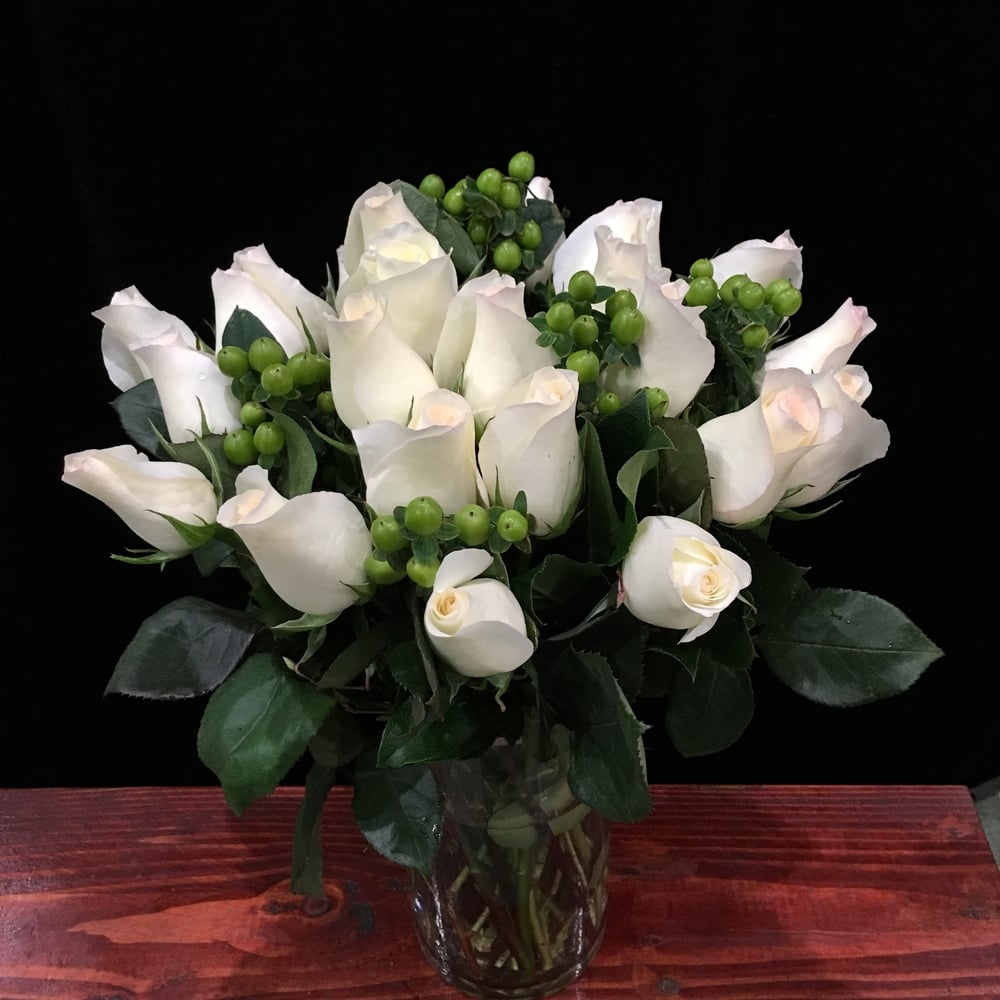 Two Dozen White Roses & Green Hypericum Berries
