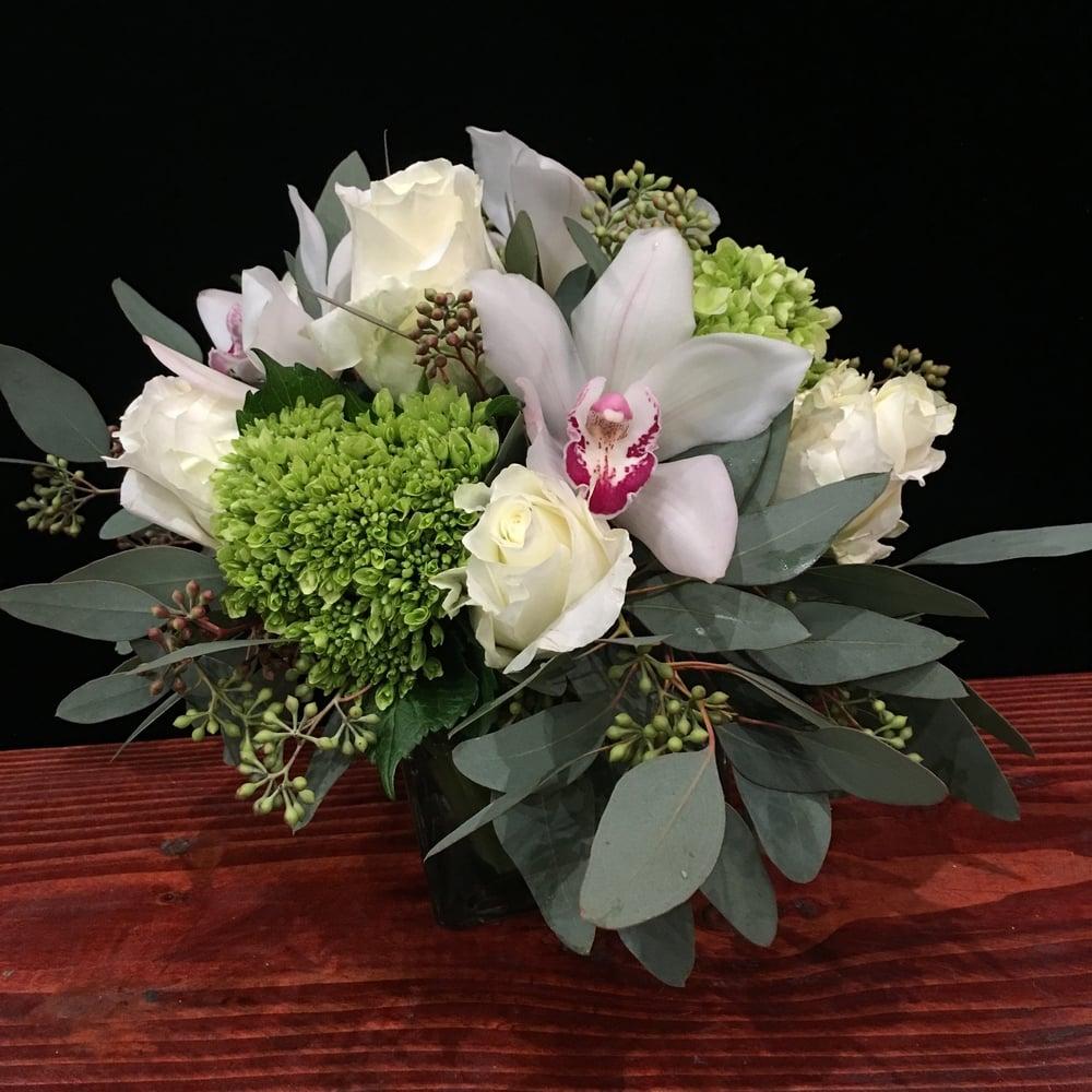 Half a dozen White Roses, Green Hydrangea, White Cymbidium Orchids