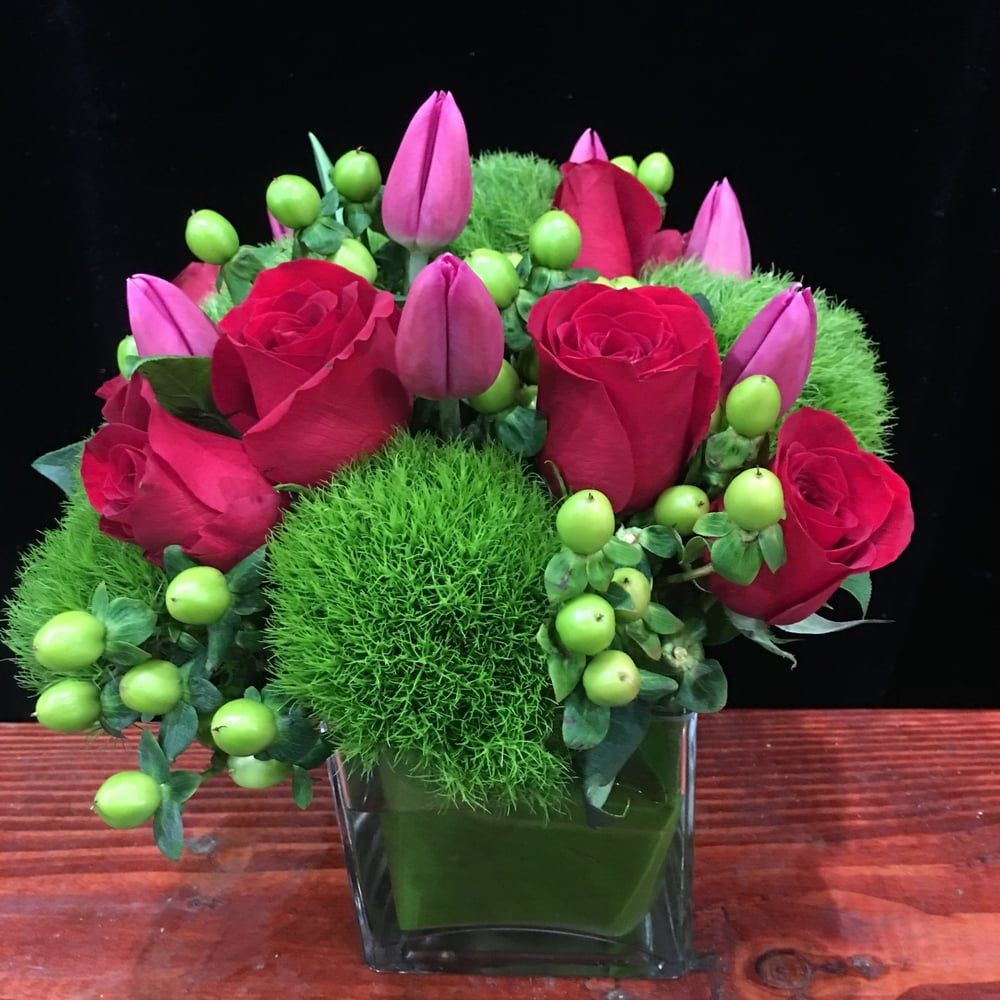 A Dozen Red Roses, Pink Tulips, Green Hypericum Berries & Dianthus