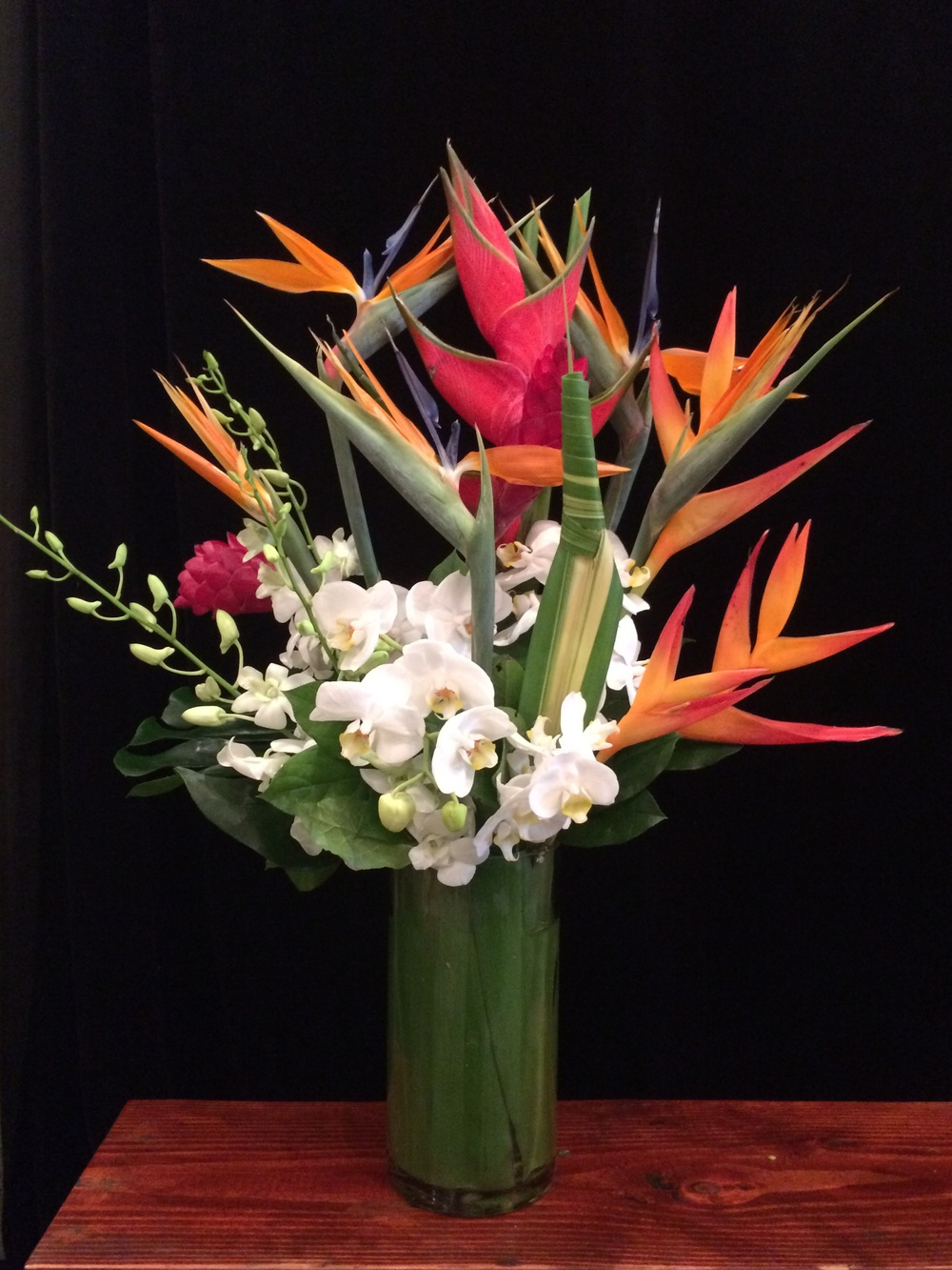 Tropicals with Birds of Paradise, White Phalaenopsis and Dendrobium Orchids