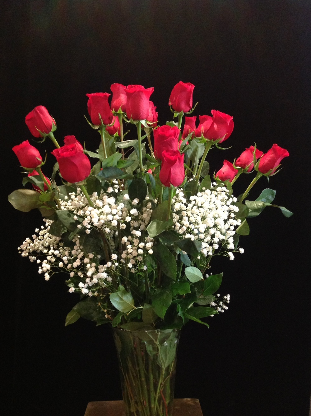 Two Dozen Long Stem Roses with Baby's Breath
