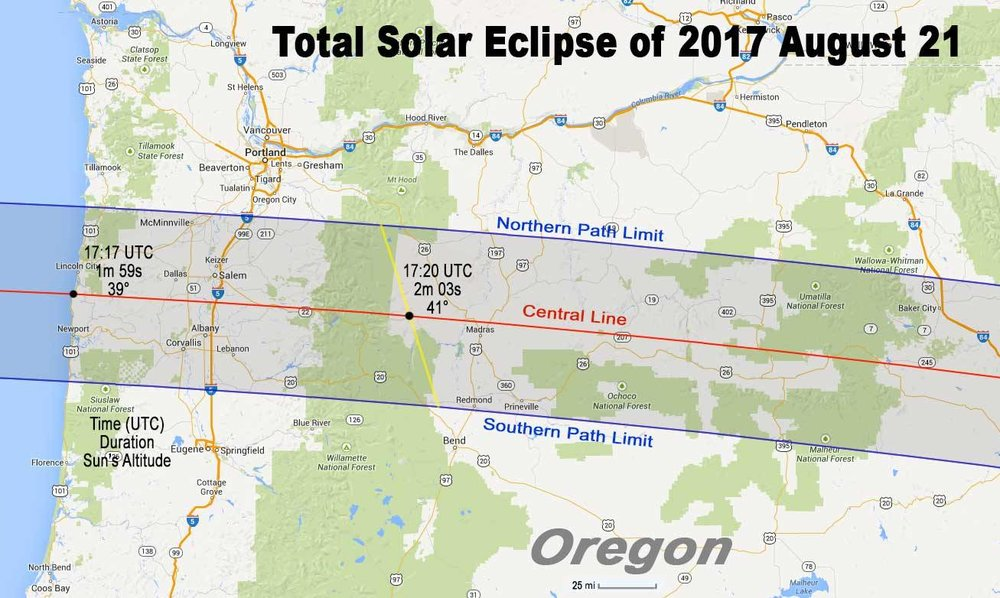 Warm Springs Indian Reservation is just NW of Madras, directly on the central line of the Total Solar Eclipse: Path of Totality.