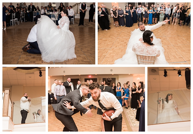 And of course the most fun married couple would have a football tossed instead of the garter ... Classic!