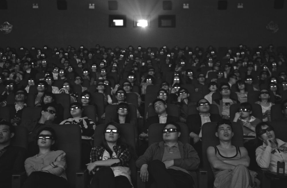 Movie-goers watching  Titanic 3D , Taiyuan, Shanxi province, 2012. Photo: Reuters