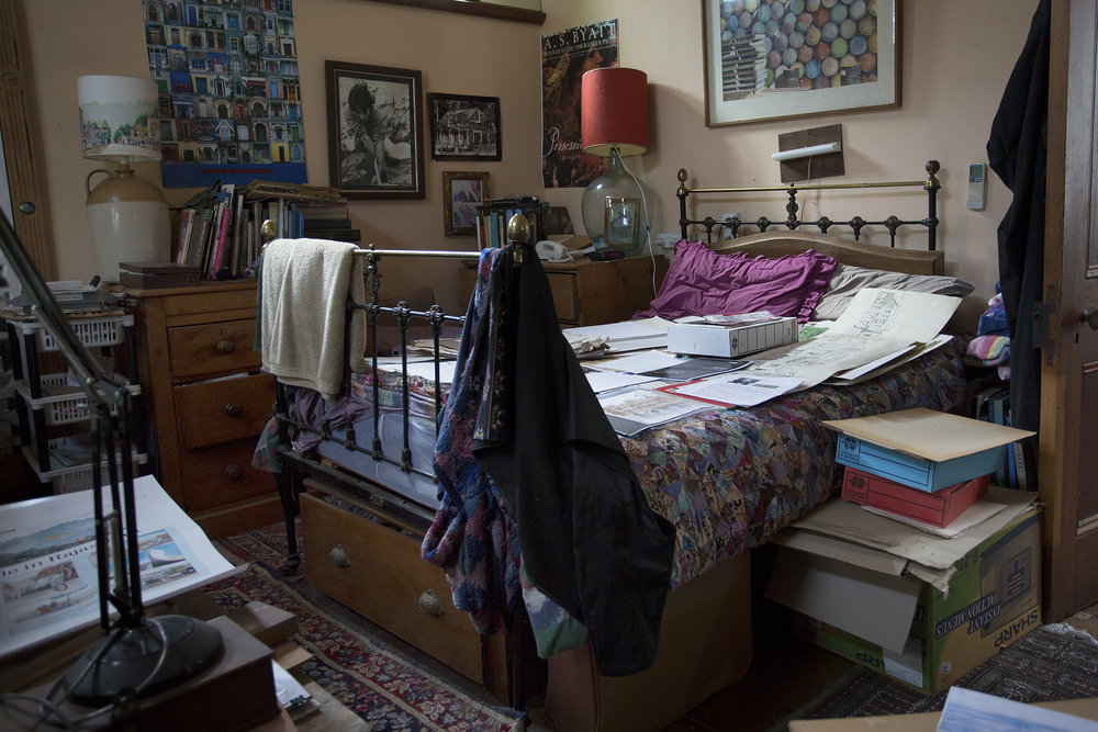 The main bedroom lies unused, instead the small room behind it with a little single bed deep amongst boxes and bits and pieces appears to be the preferred bedroom.