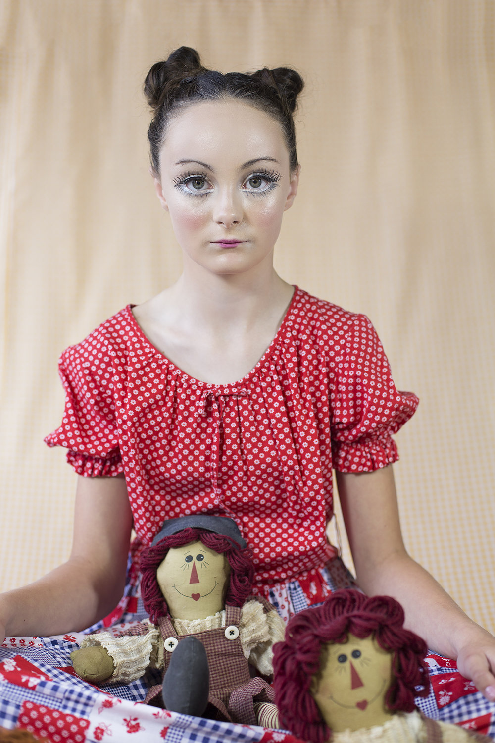 Maddy with older folk dolls from the USA