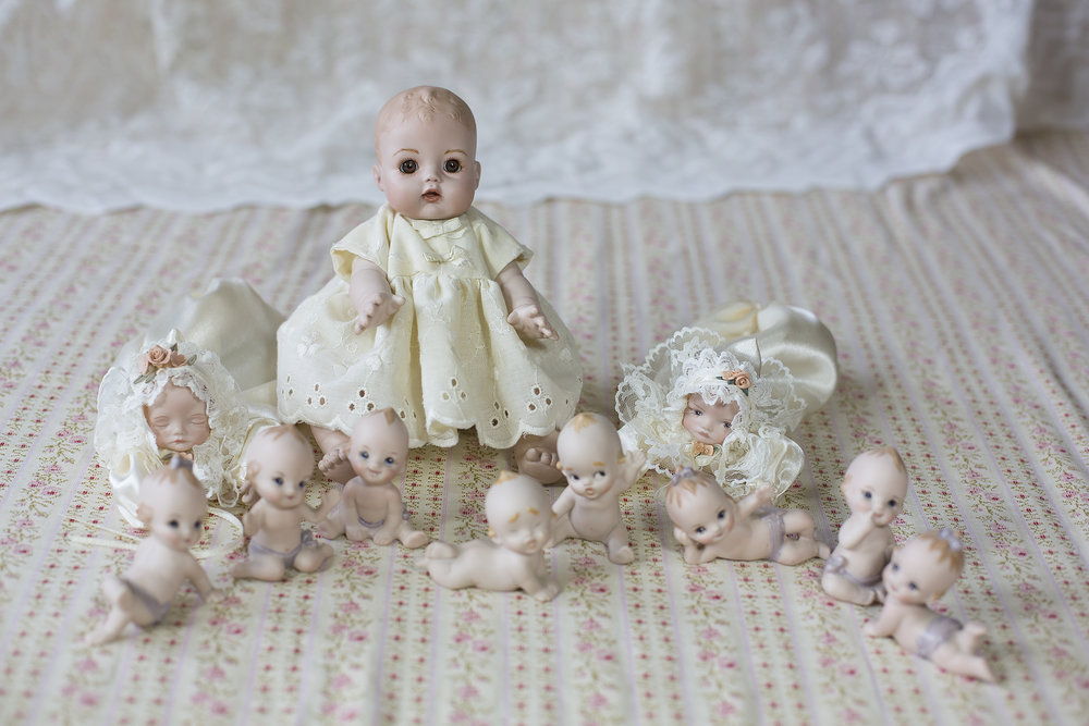 Group of porcelain dolls all made by Wilma Mans, now living in Sydney.