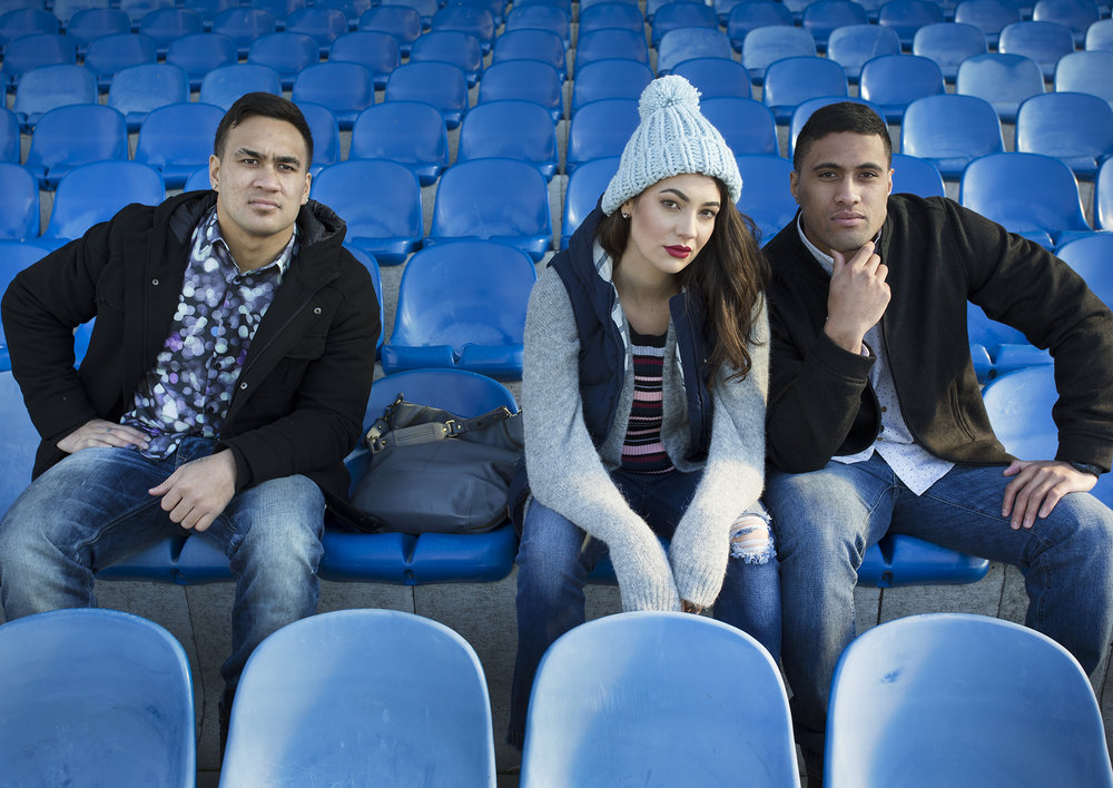 September 2016 - Models: Anneke Giblin, and Makos players Jireh Tafili and Vils Lolohea