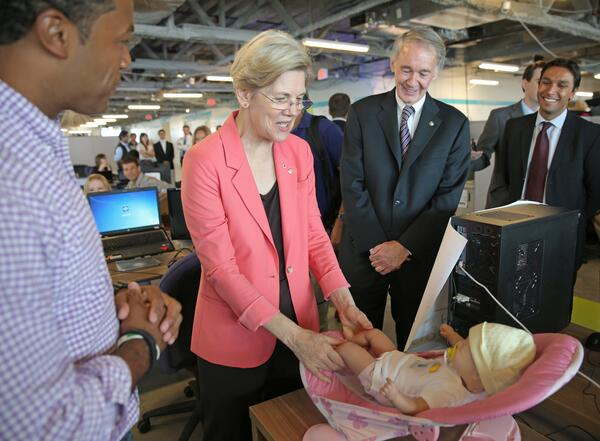 Ben meeting with Senator Elizabeth Warren and Senator Ed Markey at the MassChallenge offices.