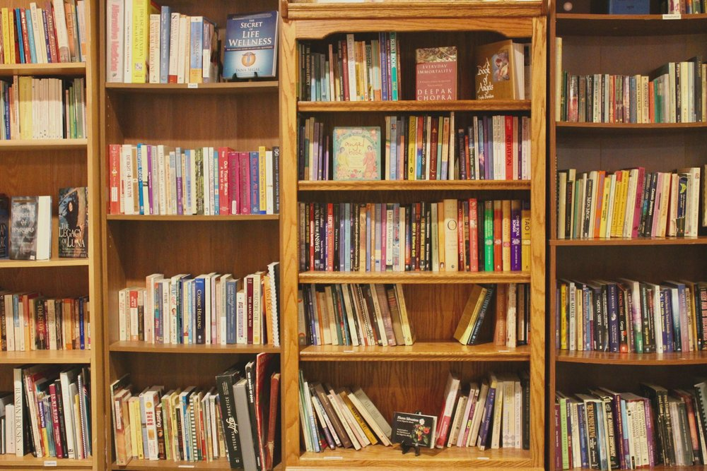 Bookshop - Our bookshop is filled with books from local authors and rare finds from around the world! We have titles covering many topics; Yoga, Art, Travel, Spirituality, Meditation, Healthy Living… to name a few.