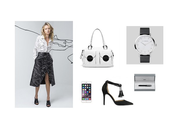 Blouse and Skirt (C/MEO COLLECTIVE), Bag (Mimco), Watch (The Horse), Shoes (Wittner)