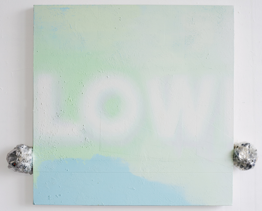 Low II, 2016, oil on canvas with used food wrappers, dartek, and monofilament, 40 x 45.