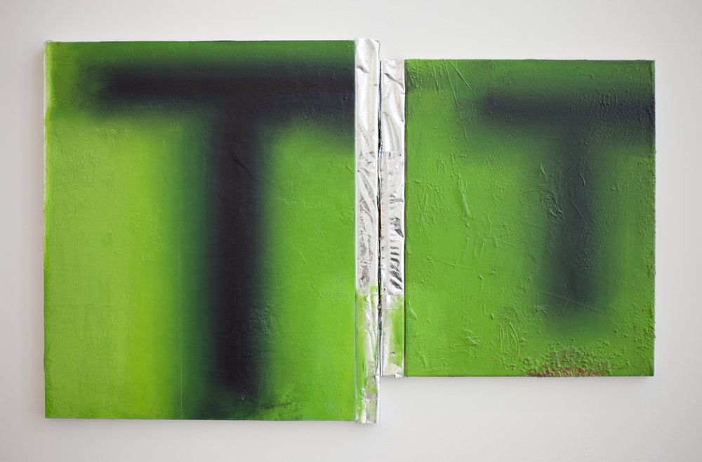 Motion Pictures VI   Oil on canvas with wood and used food wrappers  20 x 30 inches  2014