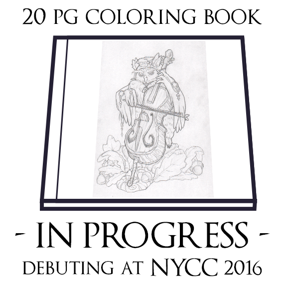 20 page coloring book of all original art I've done in my style with my characters
