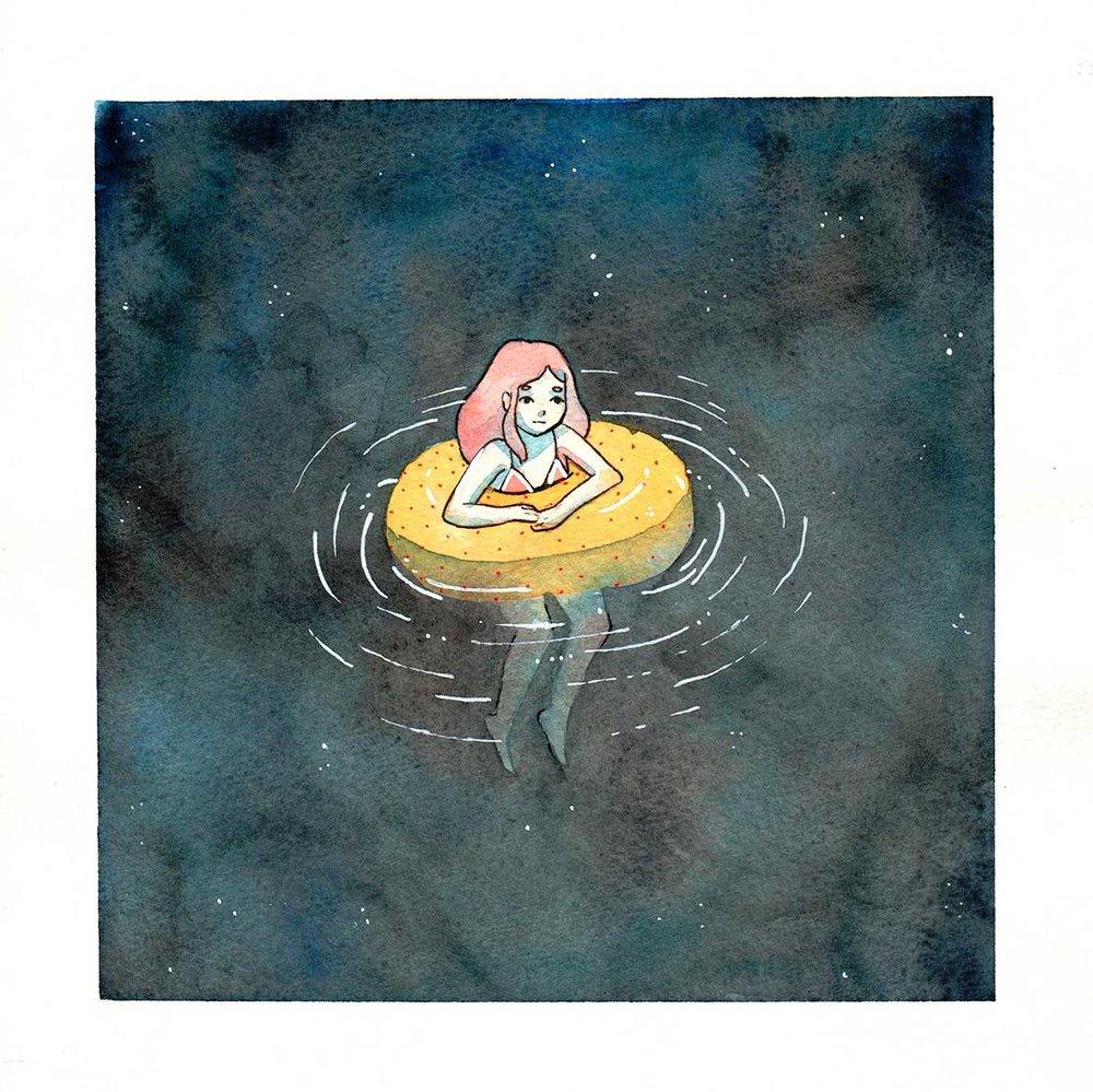 "Afloat , watercolor, 8""x8"", 2017"