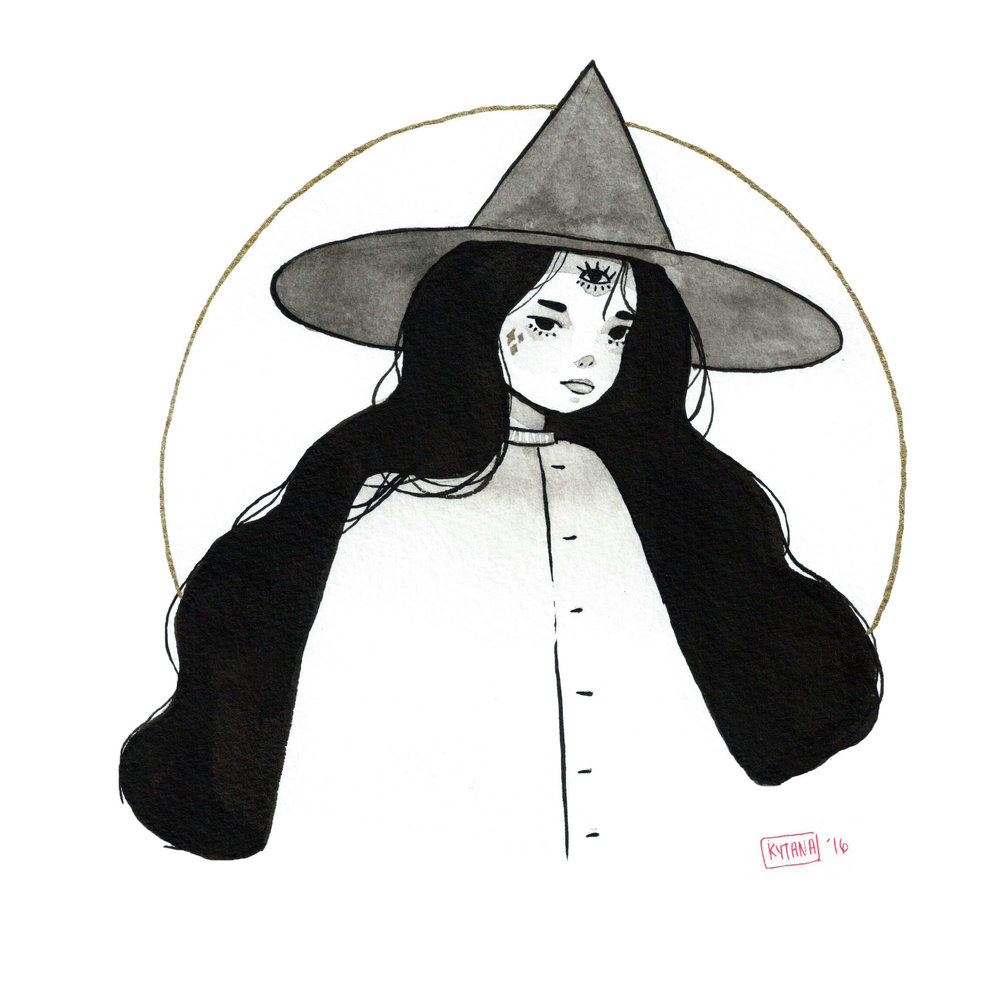 "Oracle Witch - Inktober, ink, 8"" x 8"", 2016"