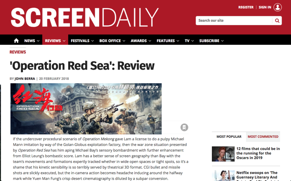 """...presented by  Operation Red Sea  has him aping Michael Bay's sensory bombardment with further enhancement from Elliot Leung's bombastic score. ""  Screen Daily, Feb 19 2018 https://goo.gl/AF9rft"