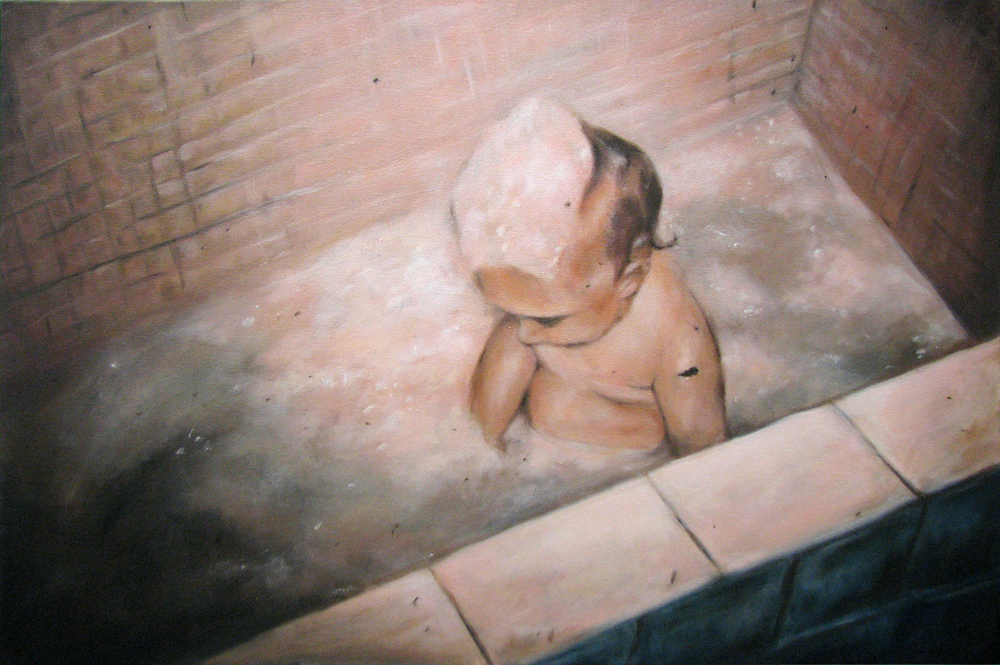 """August '71 (Child)""  oil on canvas  24"" x 36""  2009"