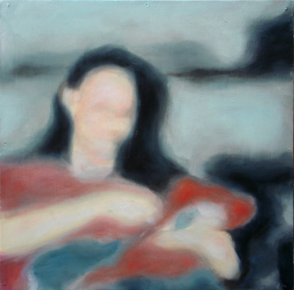 """A Familial Gaze XV""  oil on wood panel  16"" x 16""  2010"