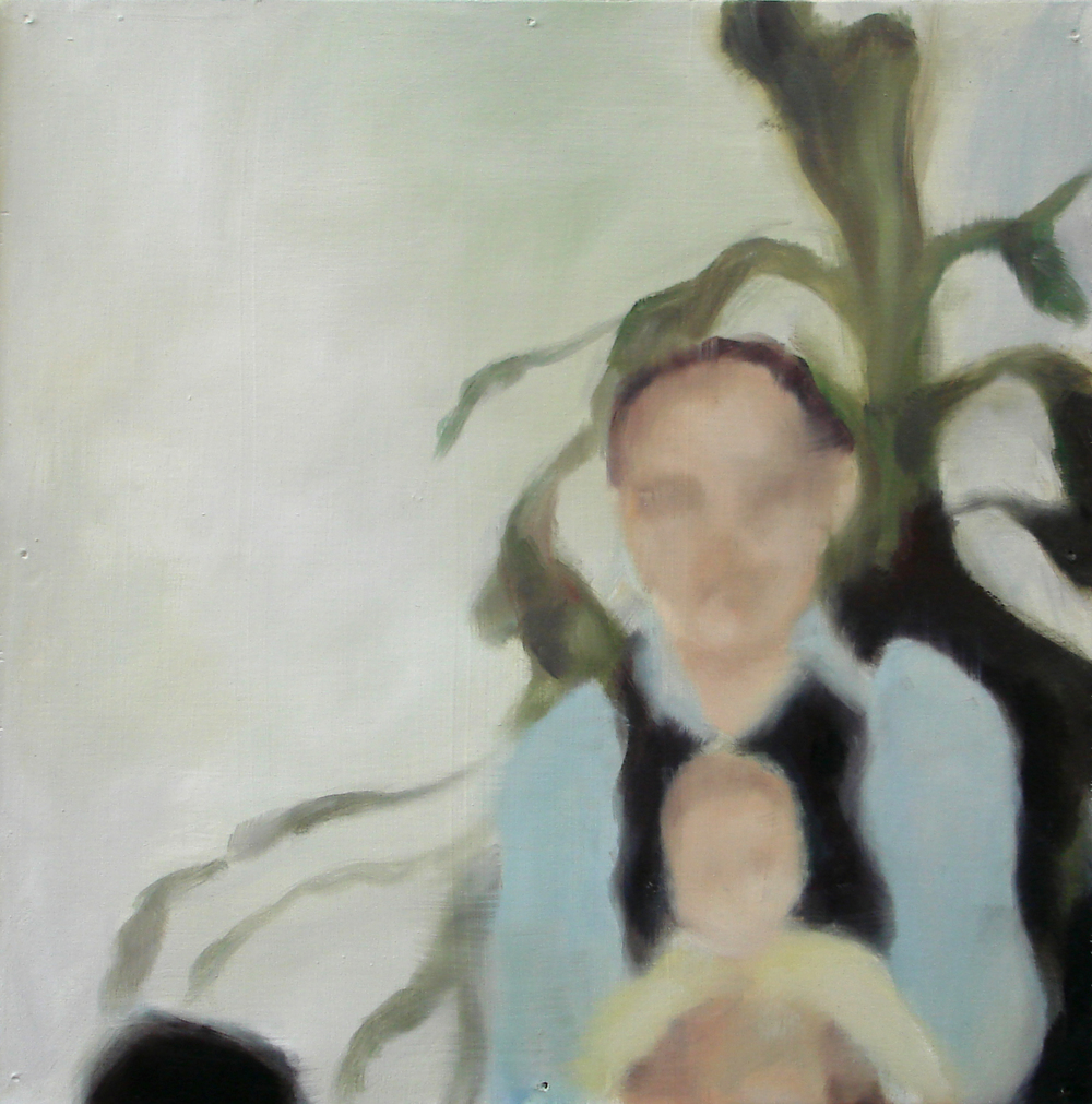 """A Familial Gaze XVI""  oil on wood panel  16"" x 16""  2010"