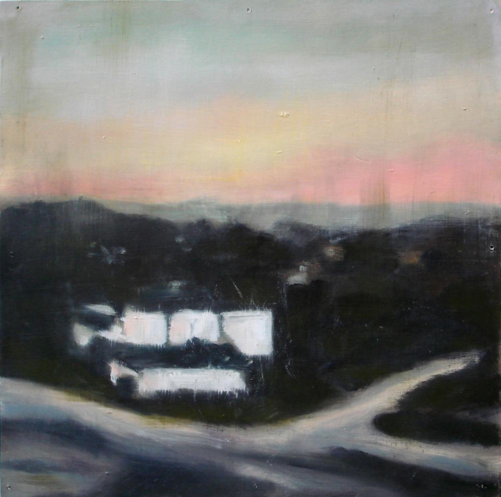 """A Familial Gaze XVIII""  oil on wood panel  16"" x 16""  2010"