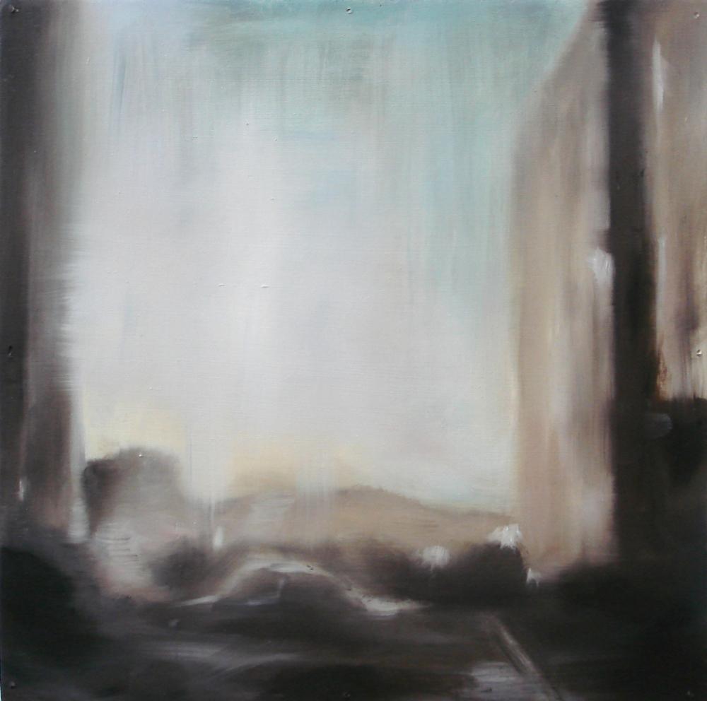 """A Familial Gaze VIII""  oil on wood panel  16"" x 16""  2010"