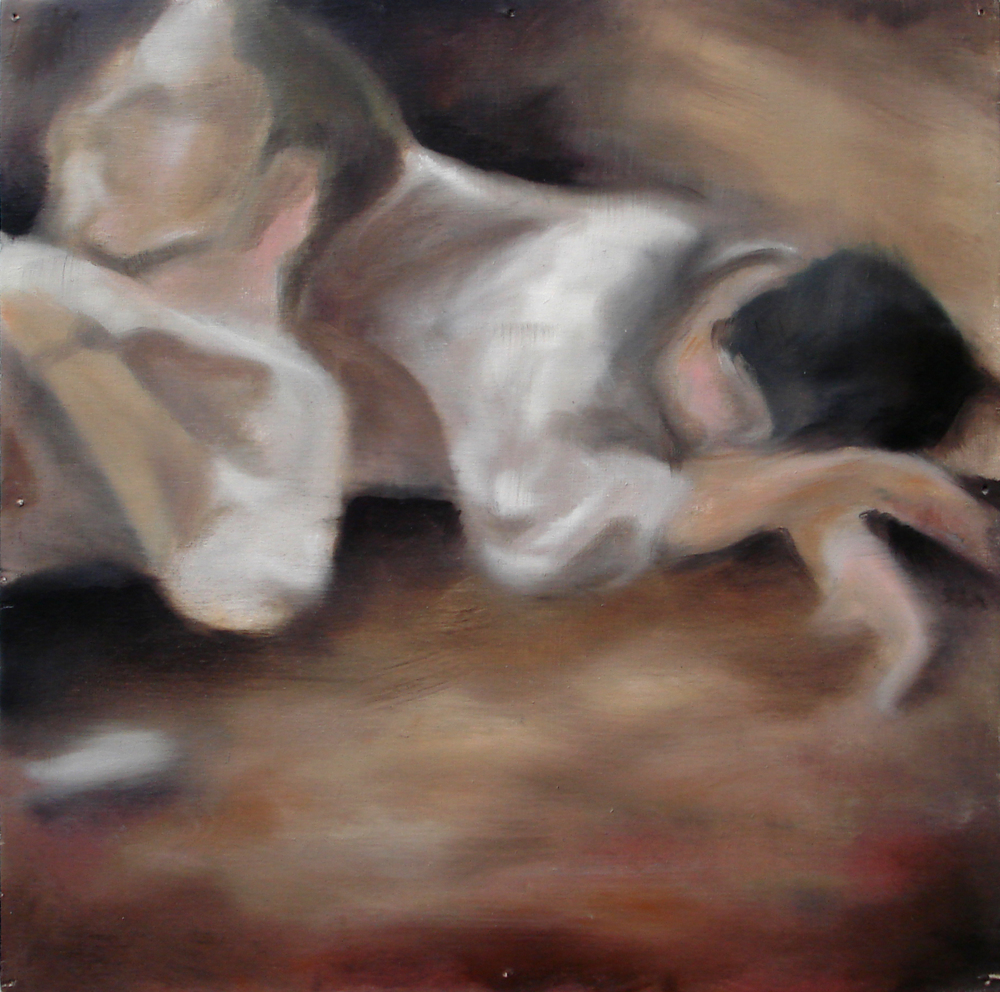 """A Familial Gaze IX""  oil on wood panel  16"" x 16""  2010"