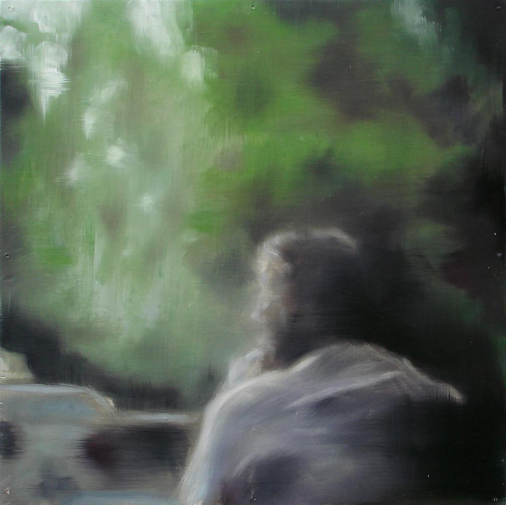 """A Familial Gaze X""  oil on wood panel  16"" x 16""  2010"