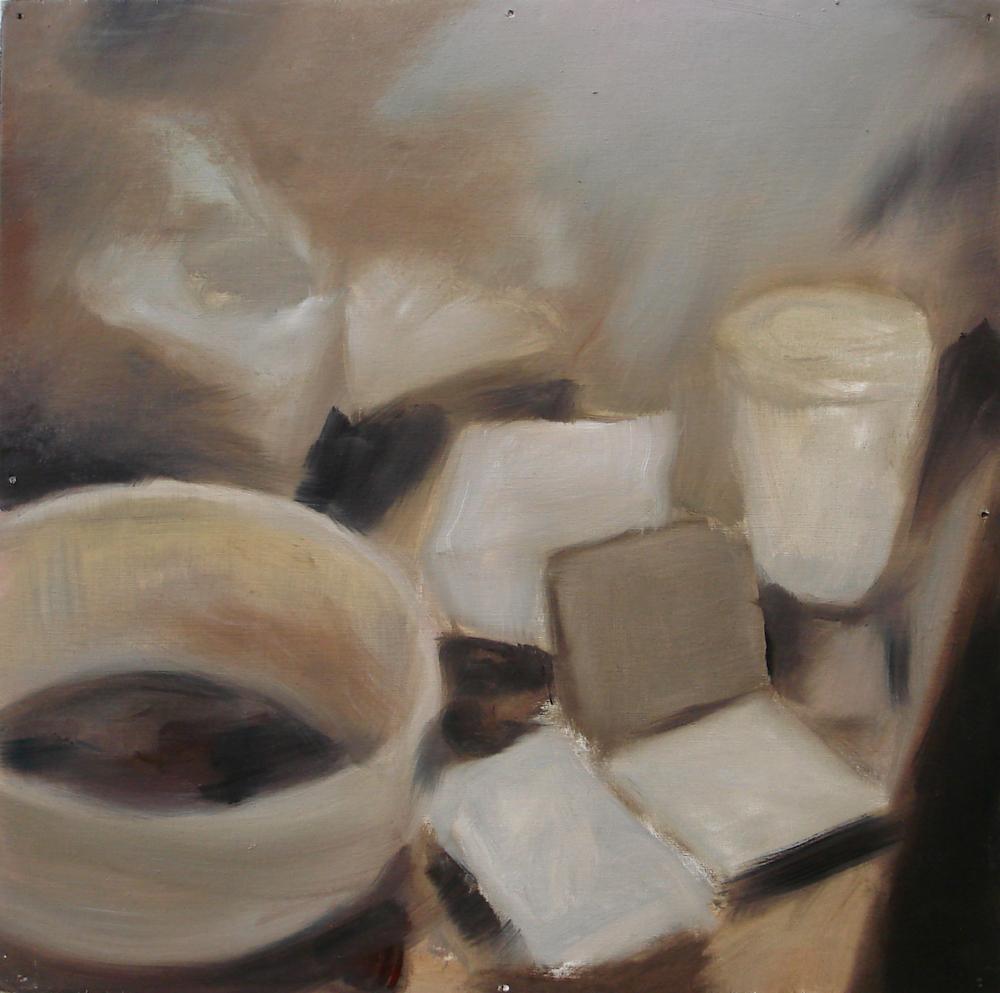 """A Familial Gaze XI""  oil on wood panel  16"" x 16""  2010"