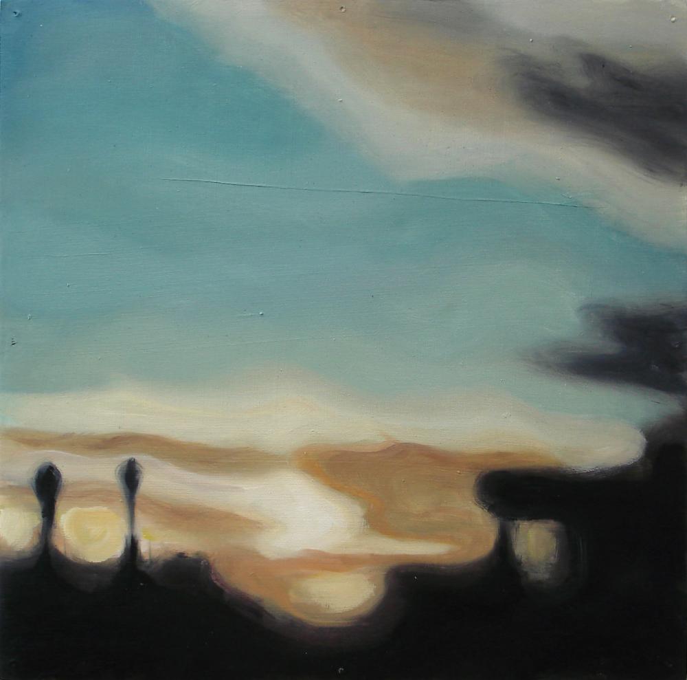 """A Familial Gaze XIV""  oil on wood panel  16"" x 16""  2010"