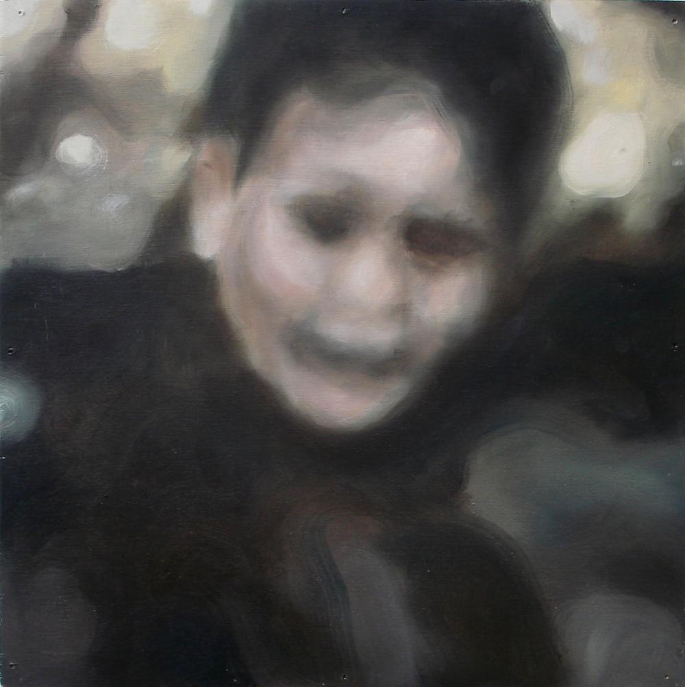 """A Familial Gaze I""  oil on wood panel  16"" x 16""  2010"