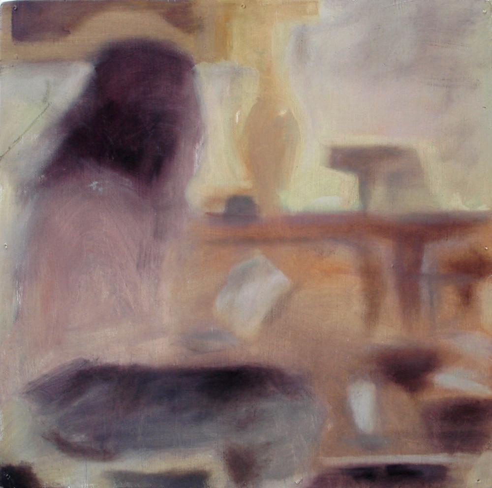 """A Familial Gaze IV""  oil on wood panel  16"" x 16""  2010"