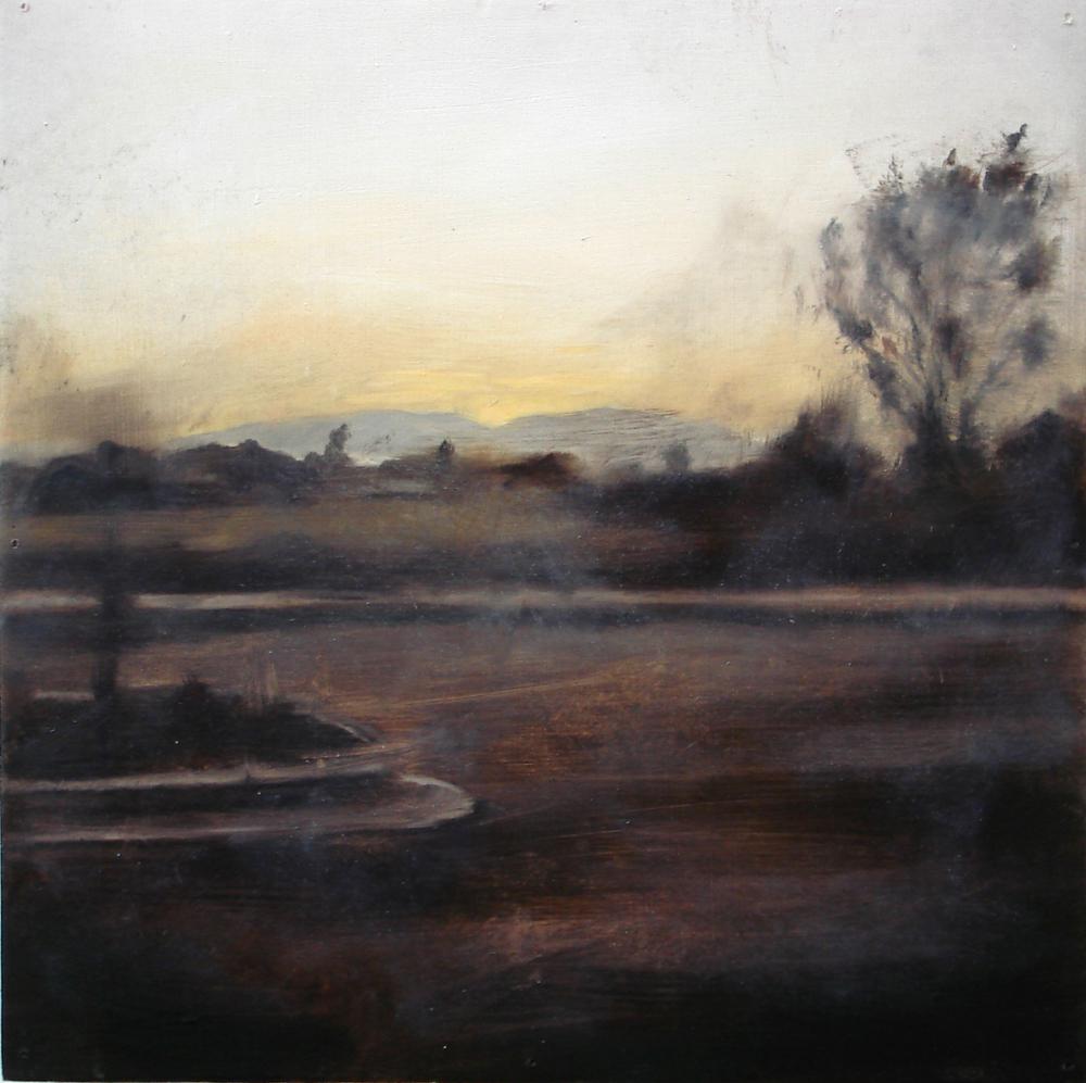 """A Familial Gaze V""  oil on wood panel  16"" x 16""  2010"