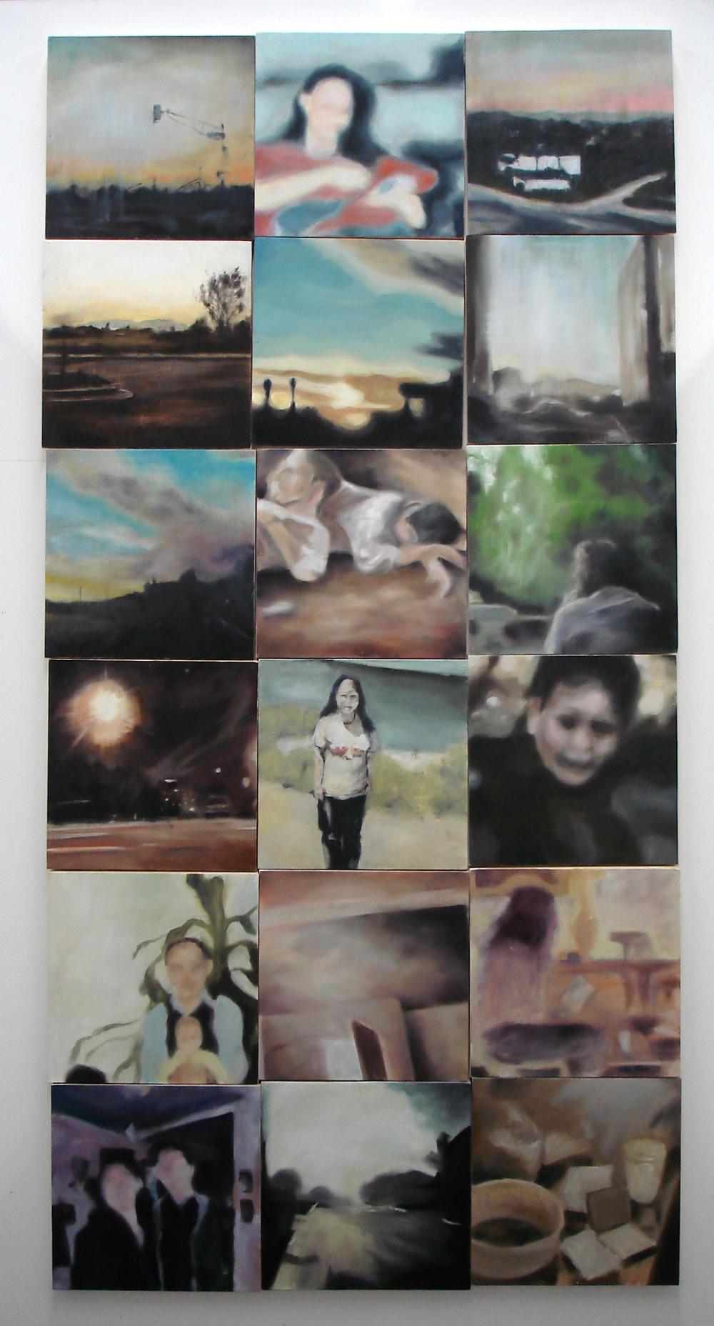 """A Familial Gaze""  oil on wood panels  48"" x 96""  2010"