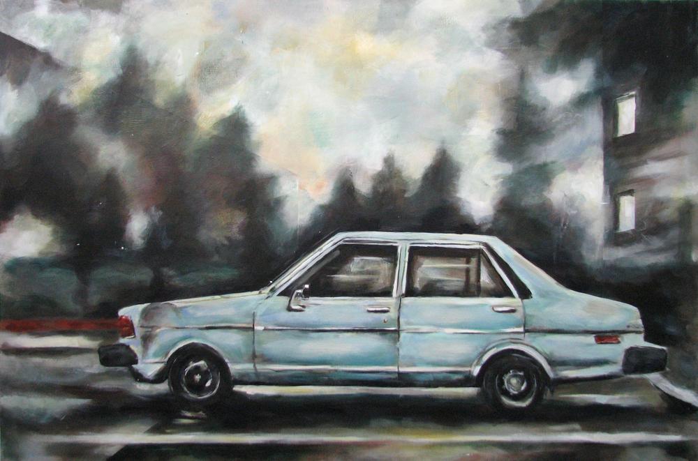 """""""Vechicle""""  acrylic on wood panel  32"""" x 48""""  2010"""