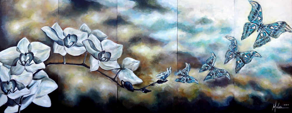 """Metamorphosis V""  acrylic on canvas  36"" x 90""  2011"