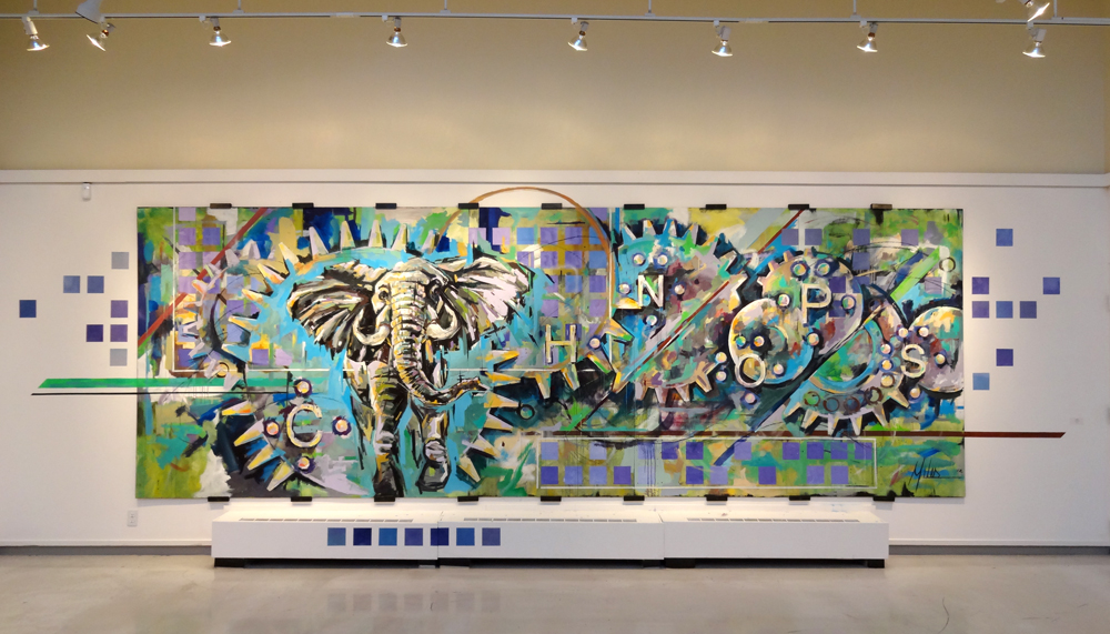 """Armature""  acrylic on wood panel  240"" x 84""  2012"