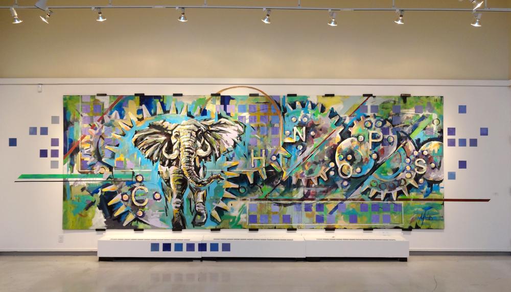 """Armature""  acrylic on wood panel  240"" x 84""  2012"
